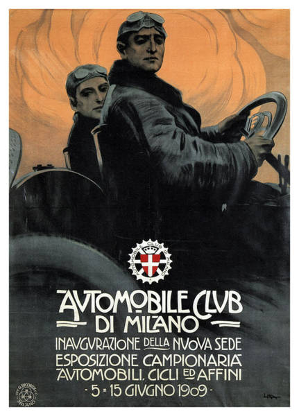 Vintage Automobiles Mixed Media - Automobile Club Di Milano, Italy - Vintage Advertising Poster by Studio Grafiikka