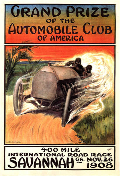 Vintage Automobiles Mixed Media - Automobile Club Of America - Car Race - Vintage Advertising Poster by Studio Grafiikka