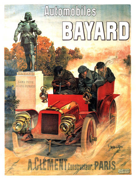 Statue Mixed Media - Automobiles Bayard - Car Race - Vintage Advertising Poster by Studio Grafiikka