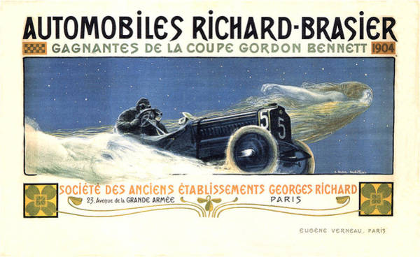 Vintage Automobiles Mixed Media - Automobiles Richard-brasier - Car Race - Vintage Advertising Poster by Studio Grafiikka