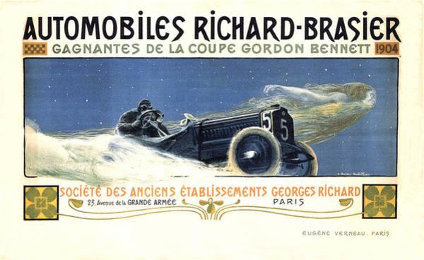 Wall Art - Mixed Media - Automobiles Richard-brasier - Car Race - Vintage Advertising Poster by Studio Grafiikka