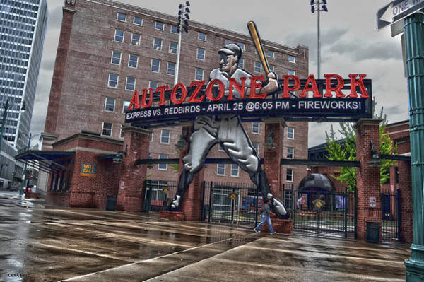 Photograph - Autozone Park Entrance Memphis Tennessee by Lesa Fine