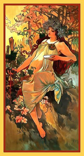 Wall Art - Digital Art - Autumn by Alphonse Maria Mucha