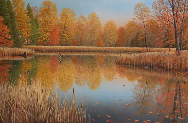 Bullrush Painting - Autumn Arrivals by Jake Vandenbrink