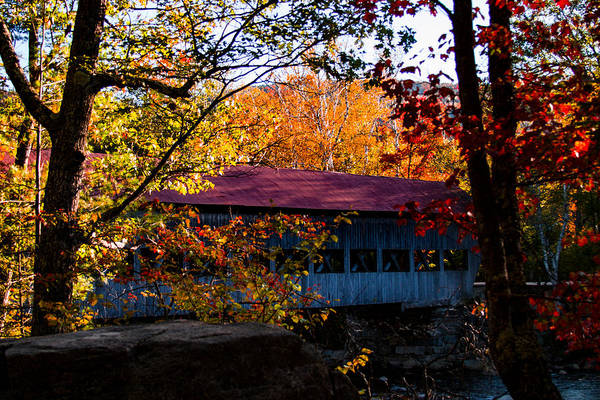 Photograph - autumn arrives at the Albany covered bridge  by Jeff Folger