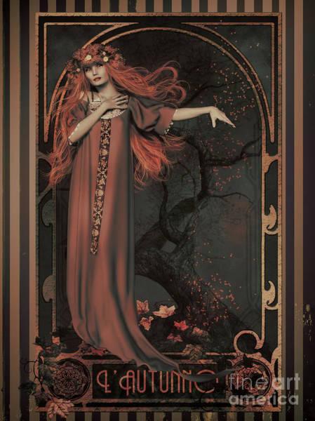 Wall Art - Digital Art - Autumn Art Nouveau  by Shanina Conway