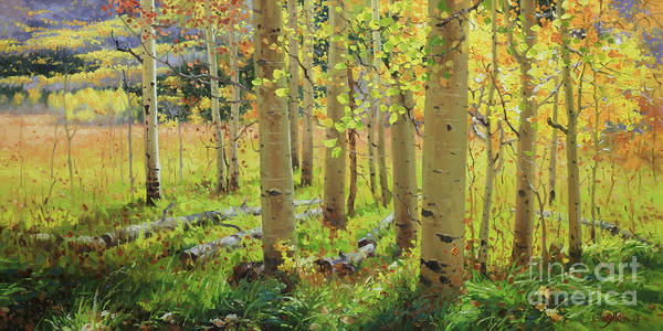 Wall Art - Painting - Autumn Aspen by Gary Kim
