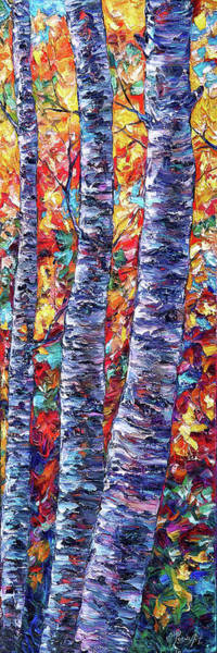 Painting - Autumn  Aspen Trees Contemporary Painting  by OLena Art - Lena Owens