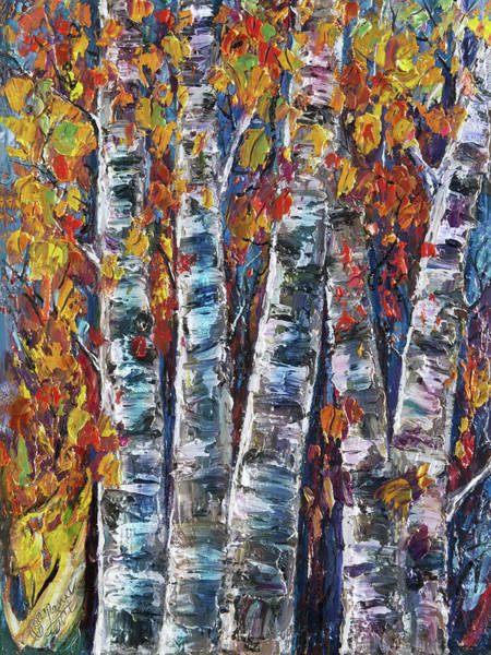 Painting - Autumn Aspen Trees With Palette Knife by OLena Art - Lena Owens