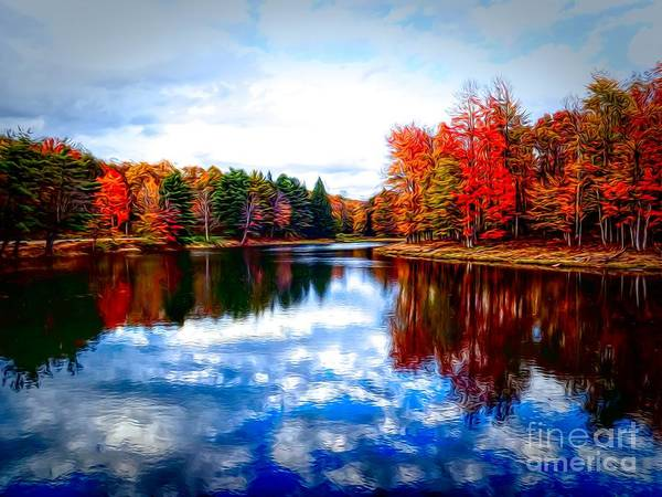 Photograph - Autumn At Allegany State Park Red House Lake Abstract Expressionistic Effect by Rose Santuci-Sofranko