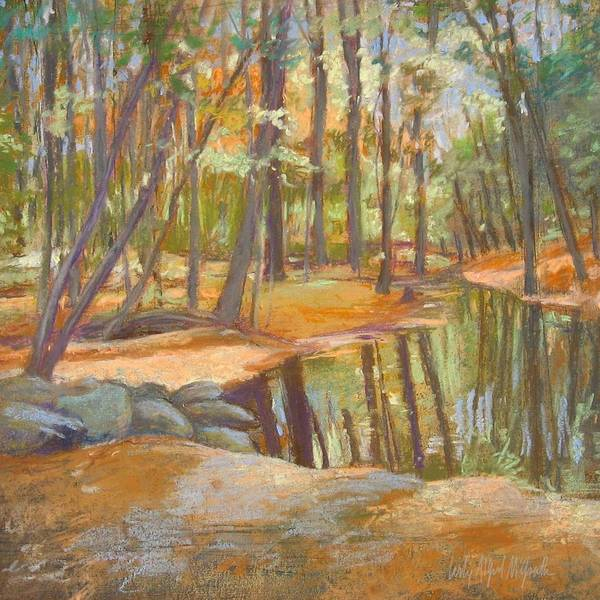 Wall Art - Painting - autumn at Kenoza by Leslie Alfred McGrath