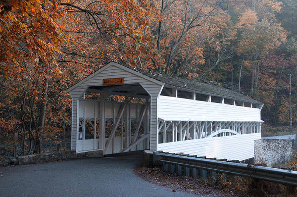 Covered Bridge Photograph - Autumn At Knox Covered Bridge In Valley Forge by Bill Cannon