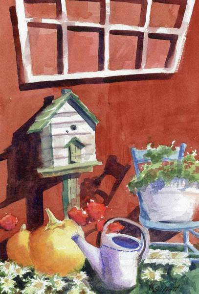 Window Frame Painting - Autumn At Little Mader by Marsha Elliott
