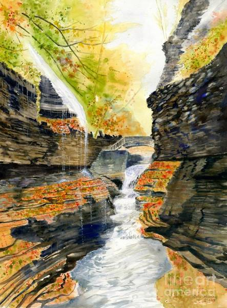 Rainbow Bridge Wall Art - Painting - Autumn At Rainbow Falls  by Melly Terpening
