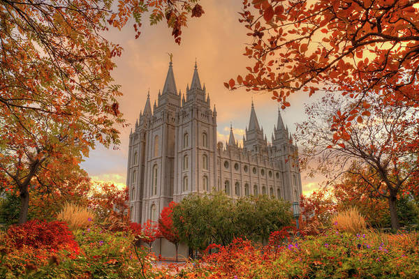 Art Print featuring the photograph Autumn At Temple Square by Dustin  LeFevre
