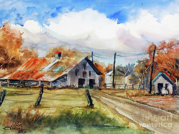 Utility Poles Painting - Autumn At The Farm by Ron Stephens