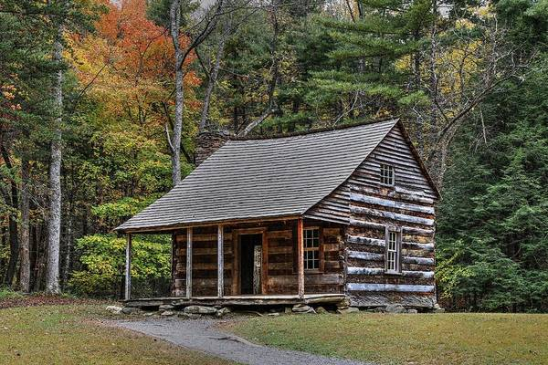 Photograph - Autumn At The Shields Cabin In Cades Cove In The Great Smoky Mountains National Park by Carol Montoya