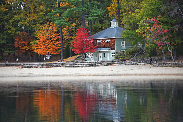 Photograph - Autumn At Walden Pond Fall Trees Concord Ma by Toby McGuire