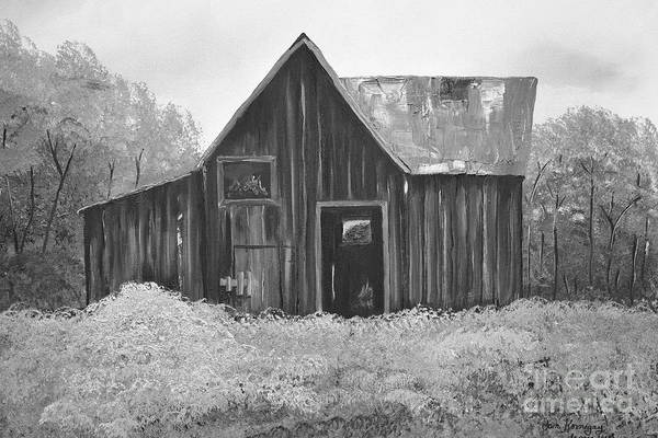 Painting - Autumn Barn - Without Fall - Black And White by Jan Dappen