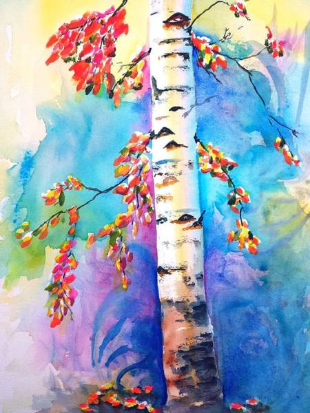 Painting - Autumn Birch Tree Watercolor by Carlin Blahnik CarlinArtWatercolor