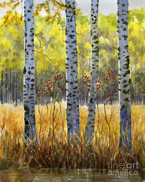 Burnt Sienna Wall Art - Painting - Autumn Birch Trees In Shadow by Sharon Freeman