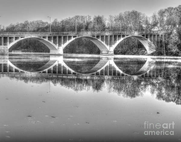 Photograph - Autumn Bridge Reflections In Black And White by Rod Best