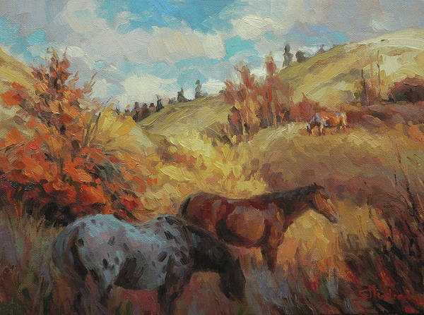 Pasture Wall Art - Painting - Autumn Browsing by Steve Henderson