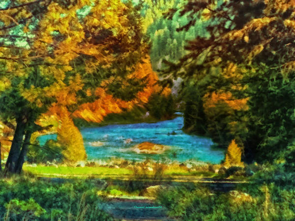 River Scene Mixed Media - Autumn By A Montana Pond by Thomas Woolworth