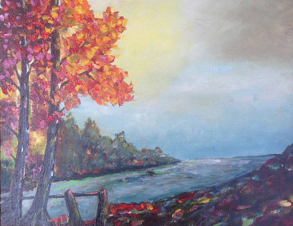 Landscape Painting - Autumn By The Creek by Roxy Rich