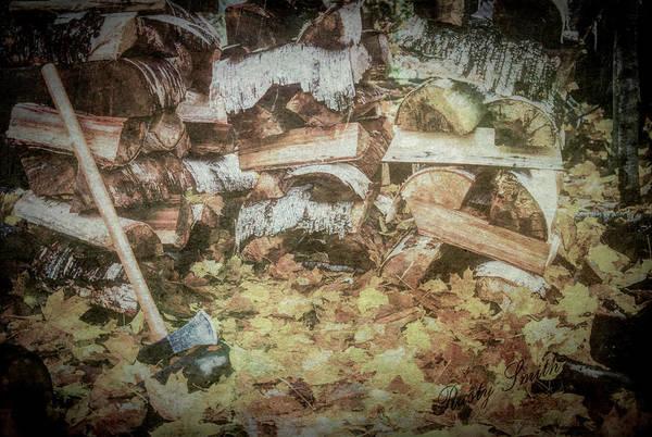 Digital Art - Autumn Chore Firewood Splitting. by Rusty R Smith