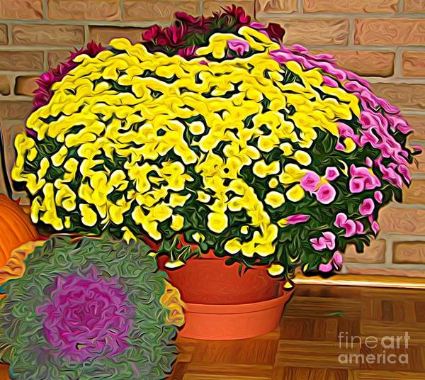 Mixed Media - Autumn Chrysanthemums Display Expressionist Effect by Rose Santuci-Sofranko