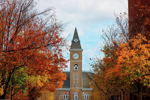 Courthouse Towers Wall Art - Photograph - Autumn Cityscape Around The Fayetteville Arkansas Courthouse  by Gregory Ballos