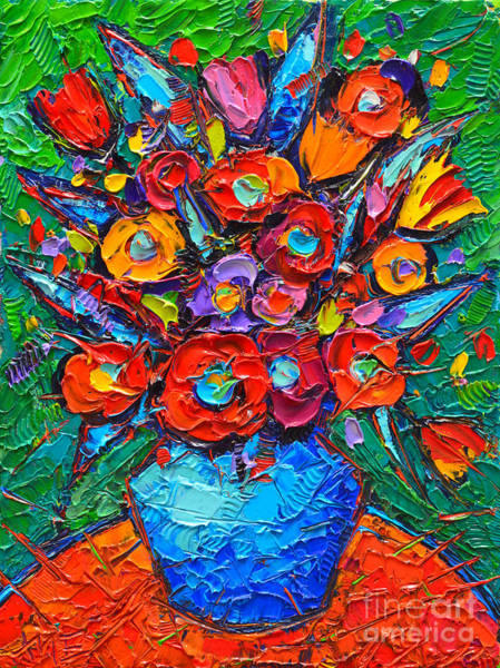 Blue Cornflower Painting - Autumn Colorful Flowers Modern Impressionist Palette Knife Oil Painting By Ana Maria Edulescu        by Ana Maria Edulescu