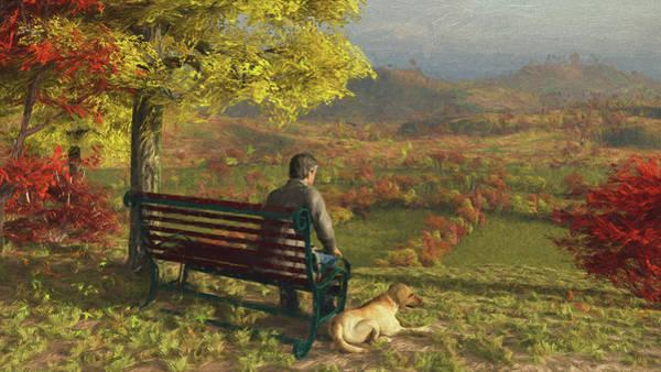 Park Bench Digital Art - Autumn Companions by Jayne Wilson