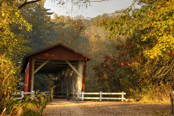 Red Covered Bridge Photograph - Autumn Covered Bridge by Ann Bridges