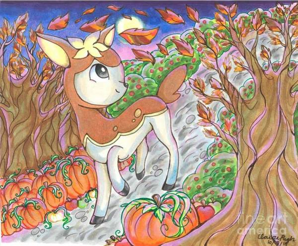 Pokemon Drawing - Autumn Deerling by Claire Pugh