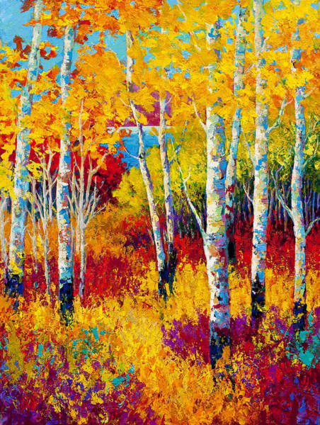 Birches Painting - Autumn Dreams by Marion Rose