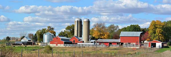 Autumn Elk Farm Art Print
