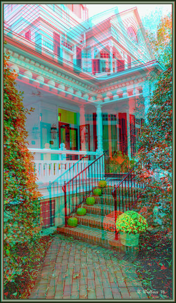 Anaglyph Photograph - Autumn Entrance Decor - Use Red-cyan 3d Glasses by Brian Wallace