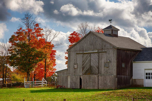 Autumn In New England Photograph - Autumn Fall Colors Turn Next To Grey Barn by Jeff Folger