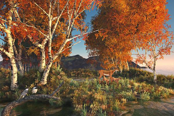Digital Art - Autumn Fawns by Mary Almond