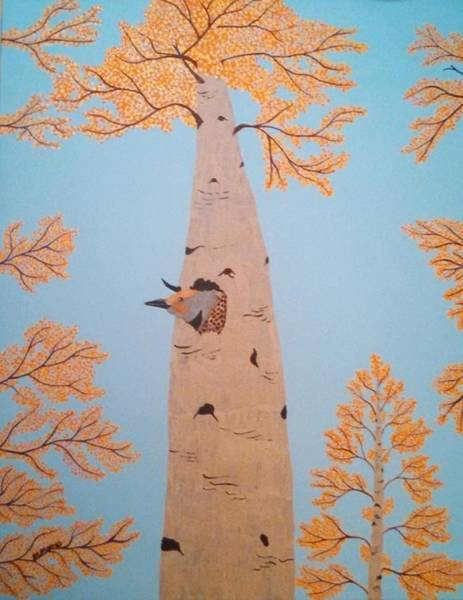 Northern Flicker Painting - Autumn Flicker #2 by Ralph Root
