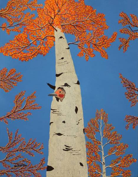 Northern Flicker Painting - Autumn Flicker by Ralph Root