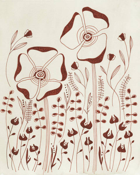 Rust Drawing - Autumn Flowers by Clary Sage Moon