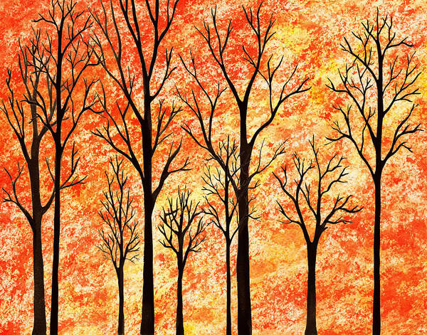 Into The Woods Wall Art - Painting - Autumn Forest Abstract  by Irina Sztukowski