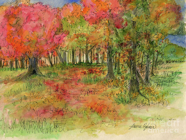 Drawing - Autumn Forest Watercolor Illustration by Laurie Rohner