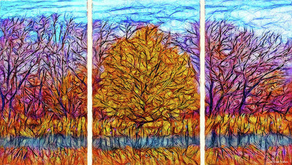 Digital Art - Autumn Glory - Triptych by Joel Bruce Wallach