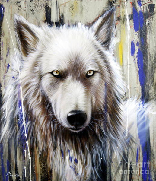 Arctic Wolf Painting - Autumn Gold 2 by Sandi Baker