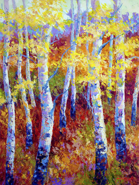 Birches Painting - Autumn Gold by Marion Rose