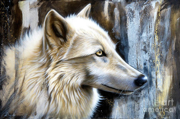 Arctic Wolf Painting - Autumn Gold by Sandi Baker